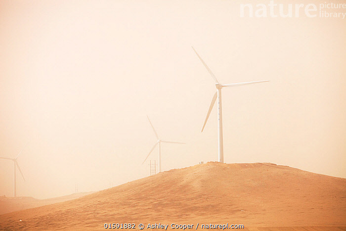 Wind farm seen through haze of a dust storm. Inner Mongolia, China, March 2009.  ,  China,chinese,climate change,global warming,carbon footprint,energy,electricity,carbon neutral,power,green,environment,green power,green energy,renewable,renewable energy,clean,wind,wind power,wind turbine,wind farm,electricity generation,haze,visibility,dust storm,dust,air pollution,air quality,,,,,, catalogue11  ,  Ashley Cooper
