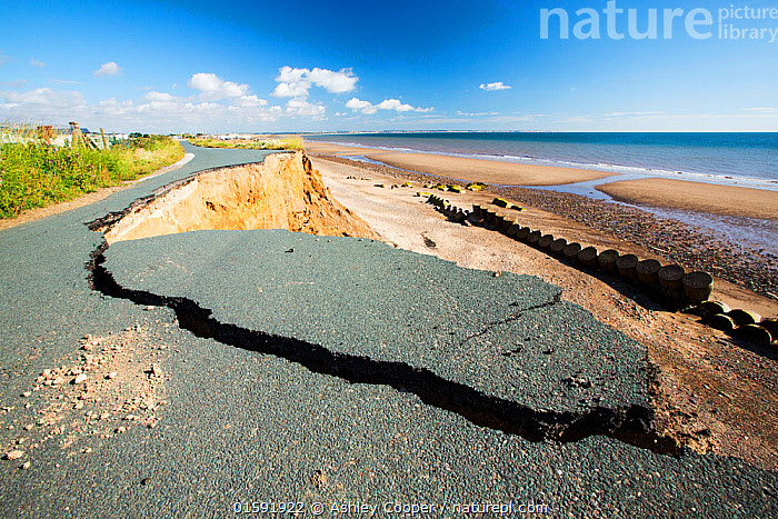 Collapsed coastal road at between Skipsea and Ulrome, Yorkshire, England, UK. August 2013.  ,  tarmac,road,destruction damage,infrastructure,cost,weathering,erosion,collapse,cliff,sea cliff,boulder clay,coast,East Coast,Yorkshire,UK,North Sea,sea,coastal erosion,Skipsea,Ulrome,Caravan Park,beach,climate change,global warming,unstable,danger,dangerous,collpase,collapsing,gravity,undercut,sea level rise,crack,cracked,,,,,, catalogue11  ,  Ashley Cooper