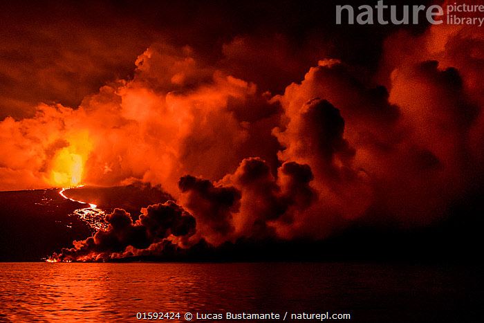 Plume of smoke from Wolf Volcano erupting, with reflections in water, Isabela Island, Galapagos, May 2015.  ,  Erupting,Colour,Orange,Red,Latin America,South America,Galapagos Islands,Galapagos,Volcano,Reflection,Smoke,Water,Geology,Volcanic features,Biodiversity hotspot,Isabela Island,Galapagos National Park,UNESCO World Heritage Site,,, catalogue11  ,  Lucas Bustamante