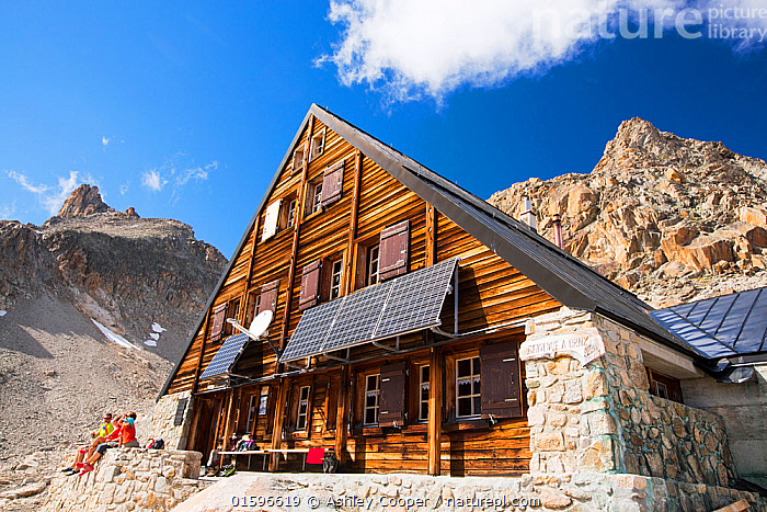 Solar panels on the Cabanne D' Orny in the Swiss Alps, providing electricity for this off grid mountain hut at over 10,000 feet. Switzerland, August 2014, Tour du Mont Blanc,Swiss,Alps,Switzerland,mountain,mountain range,weather,rocks,slope,steep,geology,ridge,erosion,glacier,glacial retreat,climate change,global warming,pinnacles,pinnacled,serrated,snot,meltwater,braided,river,debris,outflow,Glacier d&#39, Orny,Cabanne D&#39,Orny,solar,solar power,solar panel,renewable,renewable energy,PV,photo voltaic,electricity,off grid,power,power supply,,,Environment,Environmental Issues,Power supply,Sustainable power,Energy,Solar power,,, catalogue11, Ashley Cooper