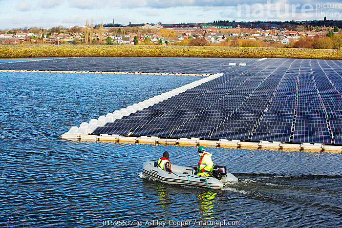 Floating solar farm being grid connected on Godley Reservoir in Hyde, Manchester, England, UK. February 2016, Hyde,Manchester,UK,United Utilities,reservoir,water,water supply,drinking water,solar,solar power,solar farm,floating,floating solar,solar panel,PV,photo voltaic,electricity,green,clean,carbon neutral,climate change,global warming,innovative,novel,floats,renewable energy,man,male,workman,PPE,health and safety,high vis,green jobs,boat,inflateable,rib,,,People,Environment,Environmental Issues,Power supply,Sustainable power,Energy,Solar power,,, catalogue11, Ashley Cooper