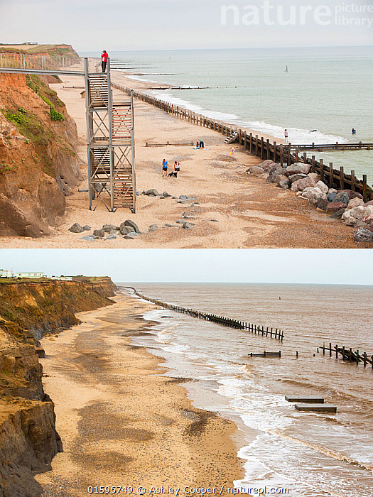 Composite shot showing coastal erosion at Happisburgh, Norfolk, UK. The first shot taken in 2010 shows the steps leading to the beach, the second shot taken in 2015 shows the two concrete blocks that were the foundations for the steps, and is all that is left, after rapid coastal erosion.  ,  defences,sea,sea defences,global warming,sea level rise,erosion,coastal erosion,glacial,till,deposits,beach,cliff,collapse,coast,Happisburgh,Norfolk,rapid erosion,threat,vulnerable,edge,crumbling,soft,concrete,remains,house,destroyed,before,after,steps,contrast,metal,,,,,, catalogue11  ,  Ashley Cooper