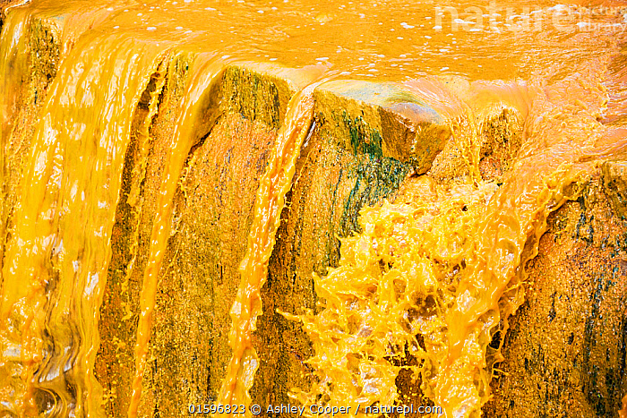 River full of water contaminated by mine effluent in La Paz, Bolivia. October 2015, orange,brown,river,water,water supply,polluted,pollution,contaminated,mine waste,effluent,La Paz,Bolivia,South America,sediment load,colour,discoloured,iron,water shortage,waterfall,scum,,,,,, catalogue11, Ashley Cooper