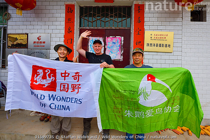 Crested ibis guesthouse in Yangxian, guesthouse owner Hau Ying on the right and wildlife guide Kevin Zhong to the left. Staffan Widstrand, center. Yangxian Nature Reserve, Shaanxi, China, September 2017., People,Asia,East Asia,China,Information,Building,Bed And Breakfast,Reserve,Protected area,, Staffan Widstrand / Wild Wonders of China