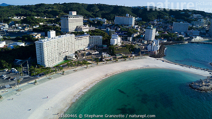 Aerial view of beach and town of Shirahama, Japan. October 2017.  ,  Asia,East Asia,Japan,Aerial View,High Angle View,Settlement,Town,Towns,Coast,Coastal,Biodiversity hotspot,Elevated view,  ,  Stephane Granzotto