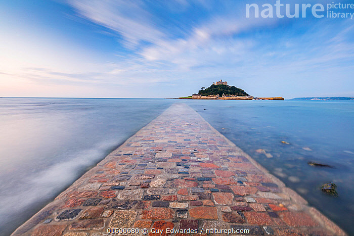 St. Michael's Mount, Marazion, Cornwall, England, UK. September 2016.  ,  Europe,Western Europe,UK,Great Britain,England,Cornwall,Diminishing Perspective,Photographic Effect,Long Exposure,Causeway,Causeways,Path,Road,Paving,Paved,Cobble,Cobbled,Cobbles,Cobblestone,Cobblestones,Island,Islands,Rock,Stone,Stones,Tide,Tides,High Tide,High Tides,Tide In,Ocean,English Channel,The English Channel,Atlantic Ocean,Landscape,Coast,Marine,Coastal,Water,Saltwater,Sea,Destination,  ,  Guy Edwardes