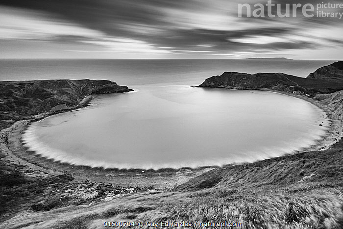 Lulworth Cove on the Jurassic Coast, Dorset, England, UK. December 2014.  ,  Shape,Circle,Europe,Western Europe,UK,Great Britain,England,Dorset,Monochromatic,Photographic Effect,Blurred Motion,Blurred Movement,Long Exposure,Ocean,English Channel,The English Channel,Atlantic Ocean,Landscape,Coast,Marine,Coastal,Water,Saltwater,Sea,Jurassic Coast,UNESCO World Heritage Site,  ,  Guy Edwardes