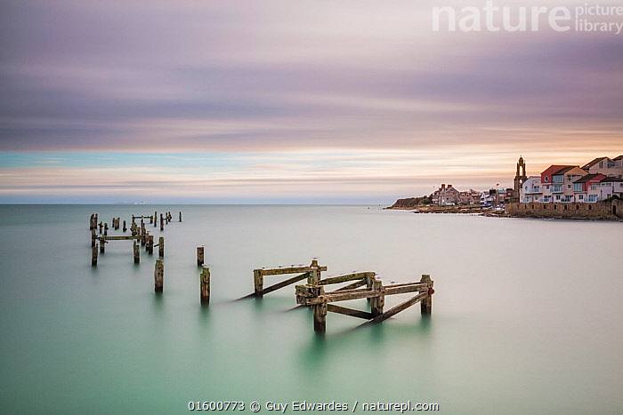 Old Swanage Pier, Swanage, Isle of Purbeck, Dorset, England, UK. December 2014., Mood,Calm,Abandoned,Europe,Western Europe,UK,Great Britain,England,Dorset,Copy Space,Photographic Effect,Long Exposure,Settlement,Town,Towns,Building,Pier,Jetties,Jetty,Piers,Ocean,English Channel,The English Channel,Atlantic Ocean,Landscape,Coast,Marine,Coastal,Water,Saltwater,Sea,Negative space,Jurassic Coast,UNESCO World Heritage Site,Isle of Purbeck,,, catalogue11, Guy Edwardes