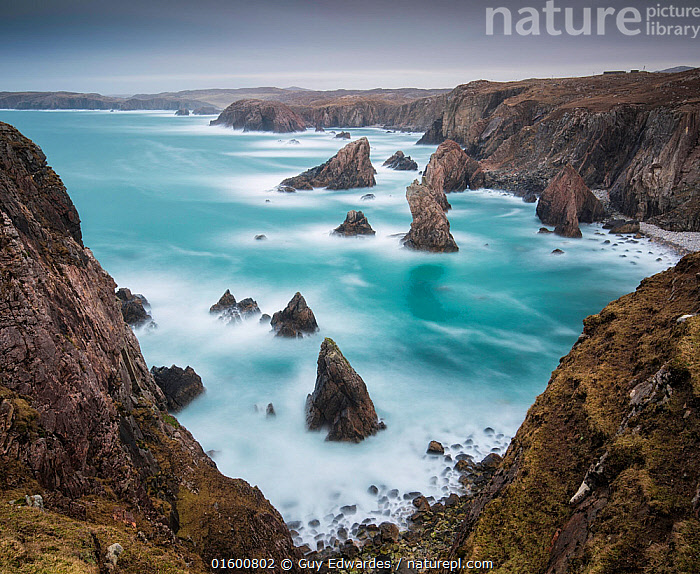 Sea Stacks at Mangurstadh, Aird Feinis, Isle of Lewis, Outer Hebrides, Scotland, UK. March 2015.  ,  Erosion,Europe,Western Europe,UK,Great Britain,Scotland,Outer Hebrides,Photographic Effect,Long Exposure,Cliff,Rock Formations,Rock,Ocean,Atlantic Ocean,Wave,Landscape,Coast,Marine,Coastal,Water,Geology,Saltwater,Sea,Hebrides,Scottish islands,Scottish isles,Mangerstadh Beach,Isle of Lewis,Rocky,Landform,Mangurstadh,Mangerstadh,,, catalogue11  ,  Guy Edwardes