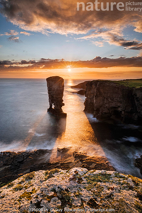 Yesnaby Stack, Orkney, Orkney Islands, Scotland, UK. August 2014.  ,  Erosion,Europe,Western Europe,UK,Great Britain,Scotland,Orkney,Photographic Effect,Blurred Motion,Blurred Movement,Long Exposure,Cliff,Rock Formations,Arch,Arches,Shadow,Ocean,Atlantic Ocean,Sunset,Setting Sun,Sunsets,Landscape,Coast,Marine,Coastal,Water,Geology,Saltwater,Sea,Dusk,North Sea,Long Shadow,Landform,  ,  Guy Edwardes