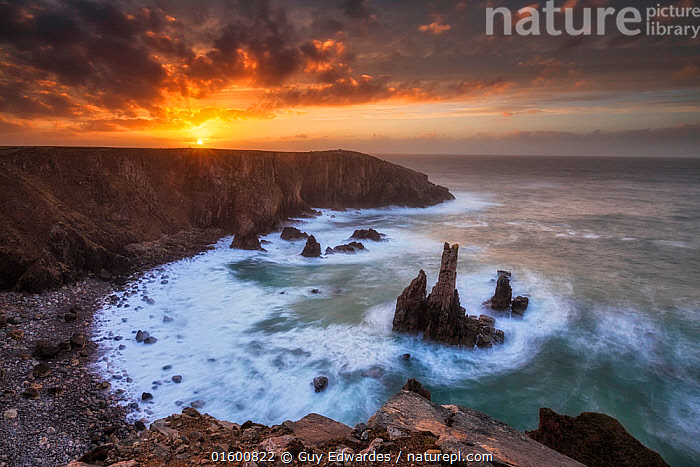 Sea stacks at sunset, Mangurstadh beach, Aird Feinis, Isle of Lewis, Outer Hebrides, Scotland, UK. March 2014.  ,  Erosion,Europe,Western Europe,UK,Great Britain,Scotland,Outer Hebrides,Photographic Effect,Blurred Motion,Blurred Movement,Long Exposure,Cliff,Peninsula,Promontory,Rock Formations,Rock,Bay,Ocean,Atlantic Ocean,Wave,Sunset,Setting Sun,Sunsets,Landscape,Coast,Marine,Coastal,Water,Geology,Saltwater,Sea,Hebrides,Scottish islands,Scottish isles,Dusk,Mangerstadh Beach,Isle of Lewis,Landform,Mangurstadh,Mangerstadh,  ,  Guy Edwardes