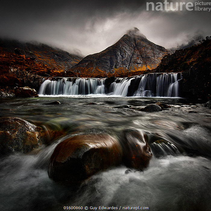 Fairy Pools and Black Cuillins, Glen Brittle, Isle of Skye, Inner Hebrides, Scotland, UK. February 2017., Threatening,Europe,Western Europe,UK,Great Britain,Scotland,Photographic Effect,Blurred Motion,Blurred Movement,Long Exposure,Mountain,Rock,Sky,Cloud,Low Cloud,Moody Sky,Flowing Water,Waterfall,River,Weather,Overcast,Mist,Landscape,Freshwater,Water,Hebrides,Inner Hebrides,Skye,Scottish islands,Scottish isles,Isle of Skye,Dramatic,Dark skies,Bad mood,, Guy Edwardes