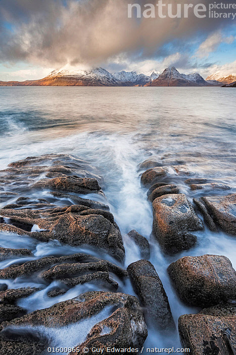 Elgol and the Black Cuillin, Isle of Skye, Inner Hebrides, Scotland, UK. January 2015., Snowcapped,Europe,Western Europe,UK,Great Britain,Scotland,Photographic Effect,Long Exposure,Mountain,Rock,Ocean,Atlantic Ocean,Landscape,Coast,Marine,Coastal,Water,Saltwater,Sea,Hebrides,Inner Hebrides,Skye,Scottish islands,Scottish isles,Isle of Skye,Rocky,, Guy Edwardes