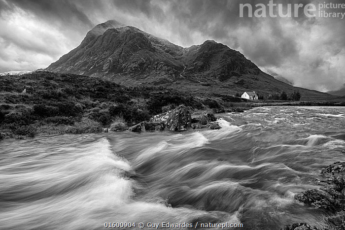 River Etive with isolated cottage beneath Buachaille Etive Mor, Rannoch Moor, Glen Coe, Highlands, Scotland, UK. November, 2013., Flowing,Flow,Atmospheric Mood,Mood,Ominous,Foreboding,Europe,Western Europe,UK,Great Britain,Scotland,Highland,Monochromatic,Photographic Effect,Blurred Motion,Blurred Movement,Long Exposure,Building,Residential Structure,House,Houses,Cottage,Hill,Mountain,Sky,Moody Sky,Flowing Water,River,Weather,Overcast,Landscape,Freshwater,Water,Highlands of Scotland,Upland,Uplands,Dark skies,, Guy Edwardes