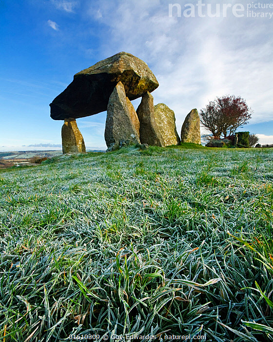 Pentre Ifan, a Neolithic burial chamber, Nevern, Pembrokeshire, Wales, UK. November 2008  ,  Ancient,Burial Chamber,Dawn,Dolmen,Frost,Guy Edwardes,Historic,Landscape,Nevern,Pembrokeshire,Pentre Ifan,Portal,Stone,UK,Vertical,Wales,archaeology,neolithic,,,Europe,Western Europe,UK,Great Britain,Wales,Monument,Monuments,Megalithic Monument,Megalithic Monuments,Burial Chamber,Burial Chambers,Dolmen,Cromlech,Cromlechs,Dolmens,Rock,Landscape,Pembrokeshire,,, catalogue11  ,  Guy Edwardes