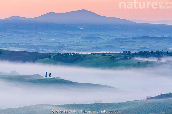 Dawn with fog over farmland, Pienza, Tuscany, May 2014.  ,  Dawn,Europe,Farmland,Fields,Fog,Guy Edwardes,Horizontal,Italy,Landscape,Layers,Mist,Monte Amiata,Morning,Pienza,Tuscan,Tuscany,Val D&#39,Orcia,countryside,cypress trees,farm,rolling hills,,,Europe,Southern Europe,Italy,Tuscany,Tuscanny,Building,Residential Structure,House,Houses,Farmhouse,Farmhouses,Agricultural Land,Cultivated Land,Mist,Landscape,Beautiful,Countryside,Farmland,Dawn,  ,  Guy Edwardes