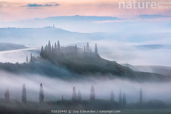 Belvedere at dawn, Val d'Orcia, Tuscany, Italy, May 2018.  ,  Belvedere,Dawn,Europe,Fog,Guy Edwardes,Horizontal,Italy,Itlay,Landscape,Layers,Mist,Morning,San Quirico D&#39,Orcia,Sunrise,Tuscany,Val D&#39,Orcia,countryside,farmhouse,,,Europe,Southern Europe,Italy,Tuscany,Tuscanny,Building,Residential Structure,House,Houses,Farmhouse,Farmhouses,Agricultural Land,Cultivated Land,Mist,Landscape,Beautiful,Countryside,Farmland,Dawn,  ,  Guy Edwardes
