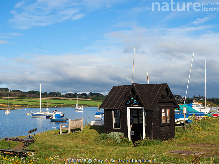 View of Alnmouth showing the old Ferryman's Hut, Northumberland, September 2017., Europe,Western Europe,UK,Great Britain,England,Northumberland,Building,Hut,Huts,Boat,Fishing Boat,Landscape,Coast,Coastal,Working-boats,, Gary  K. Smith