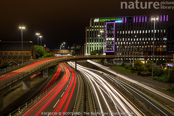 Light trails from car lights, evening rush hour in Glasgow city centre. Scotland, UK., Busy,Dark,Europe,Western Europe,UK,Great Britain,Scotland,Strathclyde,Glasgow,Photographic Effect,Long Exposure,Artifical light,Electric Light,Street Light,City,Road,Elevated Road,Major Road,Building,Office Building,Office Block,Office Blocks,Office Buildings,Land Vehicle,Motor Vehicle,Night,Cityscape,Rush Hour,Peak Hour,The Rush Hour,Car lights,Traffic,Motorway,SCOTLAND: The Big Picture,Car,Automobile,Pete Cairns,, SCOTLAND: The Big Picture