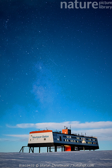 Stars and milky way over Neumayer-Station III, Alfred-Wegener-Institut research station. During full moon. Atka Bay, Antarctica. April 2017., Research,Researching,Antarctica,Antarctic,Polar,Building,Place Of Research,Research Facility,Research Facilities,Outer Space,The Universe,Galaxy,Galaxies,Stars,Sky,Night,Science,Milky Way,Queen Maud Land,Atka Bay,, Stefan Christmann