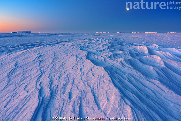 Formations in sea ice at full moon, during polar night. Atka Bay, Antarctica. July 2017.  ,  Pattern,Antarctica,Antarctic,Polar,Moon,Full Moon,Ice,Snow,Snowdrift,Snowdrifts,Landscape,Winter,Night,Sea ice,Sastrugi,Queen Maud Land,Atka Bay,Polar night,  ,  Stefan Christmann