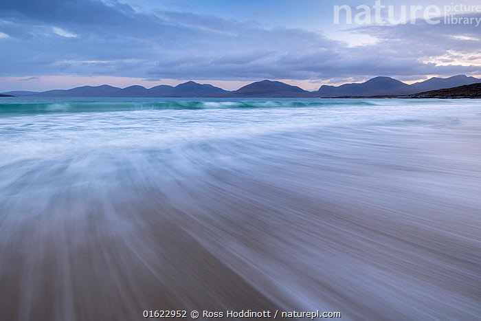 Luskentye beach, mountains and incoming tide, Isle of Lewis and Harris, Outer Hebrides, Scotland, UK. October 2018., Europe,Western Europe,UK,Great Britain,Scotland,Outer Hebrides,Photographic Effect,Long Exposure,Sky,Cloud,Tide,Tides,Coast,Coastal,Hebrides,Scottish islands,Scottish isles,, Ross Hoddinott