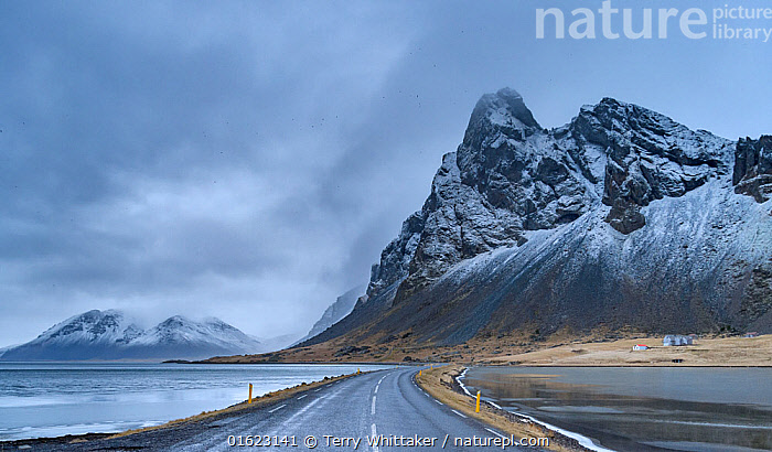 Route One, Southeast Iceland. December  ,  Europe,Northern Europe,North Europe,Nordic Countries,Scandinavia,Iceland,Road,Mountain,Sky,Cloud,Landscape,Coast,Coastal,,catalogue12  ,  Terry  Whittaker