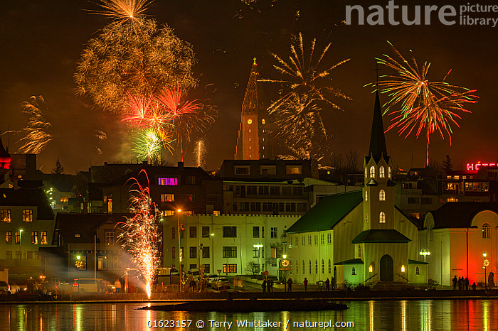 New Years Eve fireworks celebration in Reykjavik, Iceland with lights reflected in the water, Europe,Northern Europe,North Europe,Nordic Countries,Scandinavia,Iceland,Fireworks,Firework,Settlement,City,Town,Towns,Building,Reflection,Night,Coast,Coastal,, Terry  Whittaker