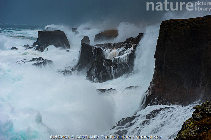 Big storm hitting cliffs, with waves breaking over the top, Shetland, Scotland, UK, July.  ,  Size,Large,Europe,Western Europe,UK,Great Britain,Scotland,Shetland,Cliff,Ocean,Atlantic Ocean,Wave,Weather,Storm,Environment,Environmental Issues,Global Warming,Greenhouse Effect,Marine,Water,Bad Weather,Saltwater,Severe weather,Climate change,SCOTLAND: The Big Picture,Richard Shucksmith,Eshaness,,catalogue12  ,  SCOTLAND: The Big Picture