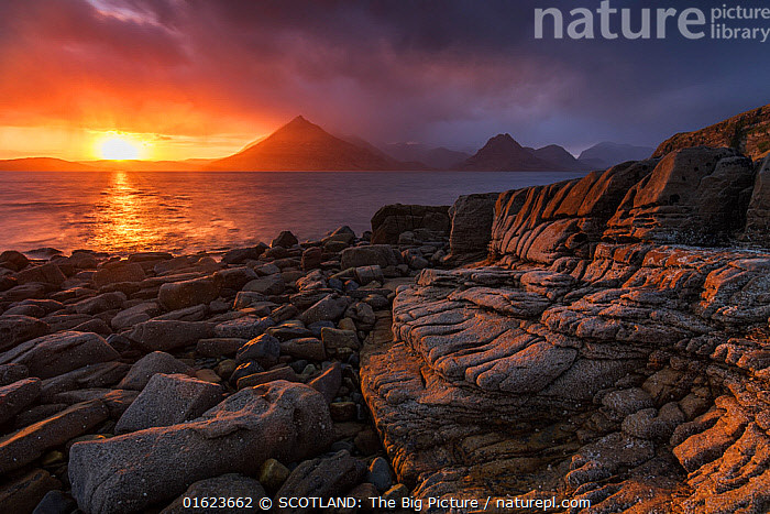 Sunset over the Cullin Mountains from Elgol shoreline, Isle of Skye, Scotland, UK, April., Europe,Western Europe,UK,Great Britain,Scotland,Hebrides,Inner Hebrides,Skye,Scottish islands,Scottish isles,Isle of Skye,SCOTLAND: The Big Picture,Mark Hamblin,, SCOTLAND: The Big Picture