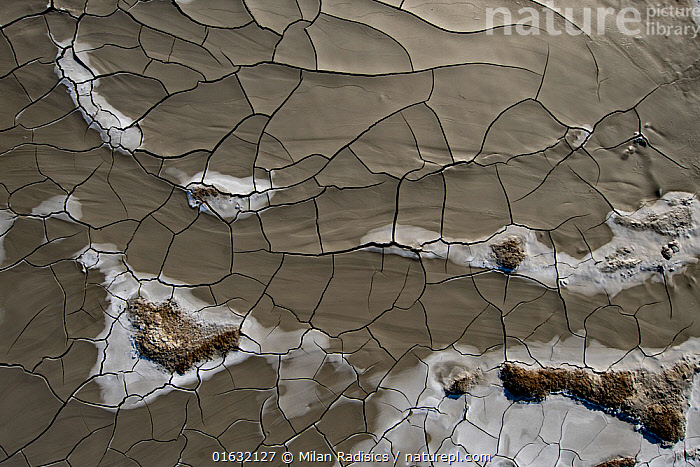 Mud Volcanoes and patterns of cracks in mud, Azerbaijan  ,  Pattern,Asia,Central Asia,Azerbaijan,Aerial View,High Angle View,Volcano,Mud,Muddy,Geology,Volcanic features,Interesting,Elevated view,Drone,Drone shot,  ,  Milan Radisics