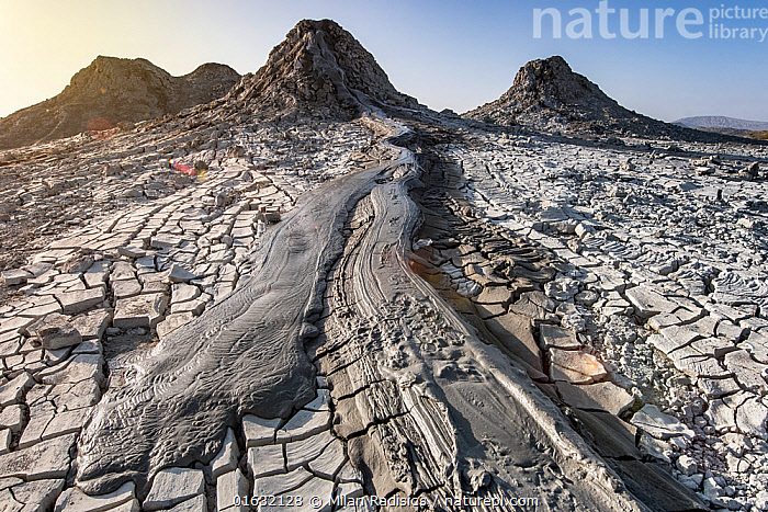 Mud Volcanoes and patterns of cracks in mud, Azerbaijan, Asia,Central Asia,Azerbaijan,Aerial View,High Angle View,Volcano,Mud,Muddy,Geology,Volcanic features,Interesting,Elevated view,Drone,Drone shot,, Milan Radisics