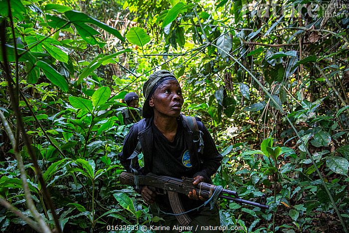 Portrait of female ecoguard / ranger Salonga National Park,  Democratic Republic of Congo. May 2017. There are 16 women who work as Ecoguards protecting the 8.9 million acres of Salonga National Park.  ,  People,Woman,Protection,Africa,Central Africa,Democratic Republic of the Congo,Rainforest,Tropical rainforest,Reserve,Forest,Conservation,Protected area,National Park,Local people,Ranger,Ecoguard,Protector,DRC,  ,  Karine Aigner