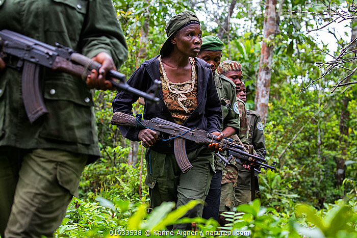 Portrait of female ecoguard / ranger, with colleagues in Salonga National Park, Democratic Republic of Congo. May 2017. There are 16 women who work as Ecoguards protecting the largely untouched 8.9 million acres of Salonga National Park.  ,  People,Woman,Protection,Africa,Central Africa,Democratic Republic of the Congo,Equipment,Weaponry,Weapon,Weapons,Firearm,Firearms,Gun,Guns,Rainforest,Tropical rainforest,Reserve,Forest,Conservation,Protected area,National Park,Local people,Ranger,Ecoguard,Protector,DRC,,,catalogue14  ,  Karine Aigner