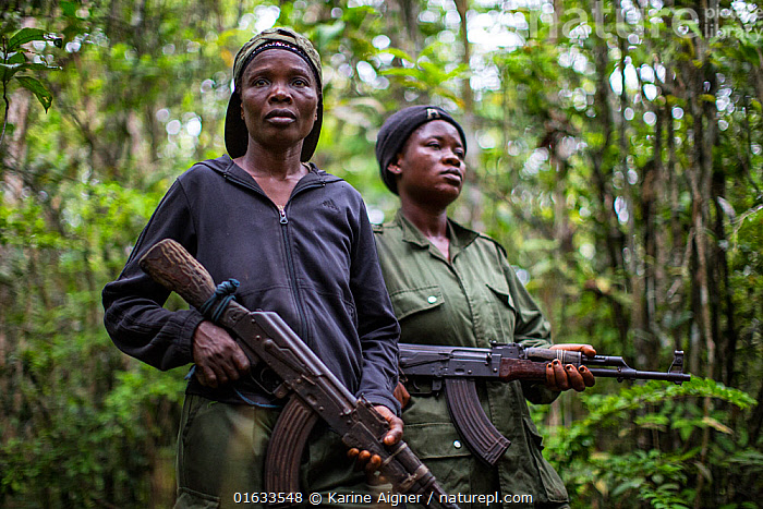 Portrait of two female ecoguards/ rangers, Salonga National Park, Democratic Republic of Congo. May 2017. There are 16 women who work as Ecoguards in Salonga National Park  ,  People,Woman,Protection,Africa,Central Africa,Democratic Republic of the Congo,Rainforest,Tropical rainforest,Reserve,Forest,Conservation,Protected area,National Park,Local people,Ranger,Ecoguard,Protector,DRC,,,catalogue14  ,  Karine Aigner