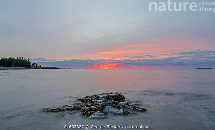 Sunrise over coastal rocks and Atlantic ocean, Acadia National Park, Maine, USA. November 2018.  ,  American,Mood,Calm,North America,USA,Eastern USA,New England,Maine,Photographic Effect,Long Exposure,Rock,Ocean,Atlantic Ocean,Sunrise,Landscape,Marine,Water,Reserve,Saltwater,Sea,Protected area,National Park,Dawn,Acadia National Park,American,United States of America,  ,  George  Sanker