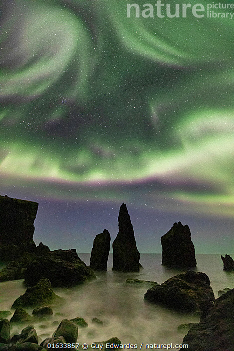 Aurora borealis above  sea stacks, Reykjanes Peninsula, Iceland. 2019.  ,  Catalogue13,Erosion,Europe,Northern Europe,North Europe,Nordic Countries,Scandinavia,Iceland,Photographic Effect,Long Exposure,Rock Formations,Stars,Rock,Sky,Ocean,Atlantic Ocean,Aurora,Auroras,Aurora Borealis,Northern Lights,Landscape,Coast,Marine,Coastal,Water,Geology,Saltwater,Natural Light,Reykjanes,night sky,Landform,Reykjanes Peninsula,Catalogue13,Rocks,Skies,Landscapes,Coasts,Oceans  ,  Guy Edwardes