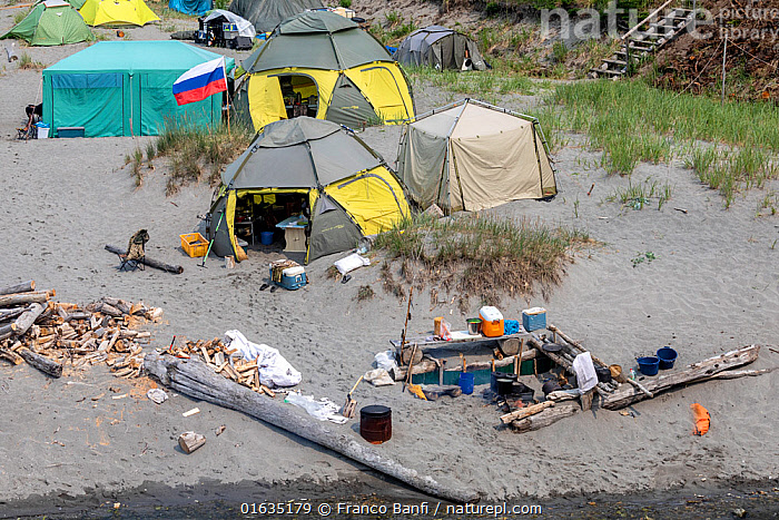 Outdoor kitchen on camp in Vrangel Bay where Bowhead whale (Balaena mysticetus) congregate in summer. Primorsky Krai, Russia. August 2019.  ,  Russia,Tent,Coast,Coastal,Russian Far East,Wildlife watching,Whale watching,Primorsky Krai,Far East Federal District,North Asia,Asian Russia,  ,  Franco  Banfi