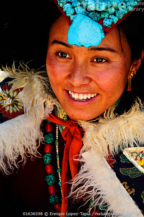 Woman with traditional Ladakh clothes, Nubra Valley, India. September 2011.  ,  People,Woman,Happiness,Asia,Indian Subcontinent,India,Clothing,Traditional Clothing,Ladakh,  ,  Enrique Lopez-Tapia