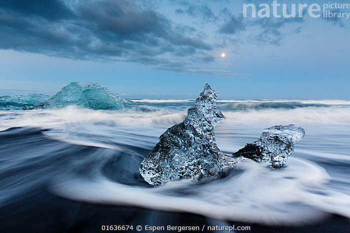 Ice sculptures on black beach. Jokulsarlon Glacier, Iceland 2016, Thawing,Europe,Northern Europe,North Europe,Nordic Countries,Scandinavia,Iceland,Photographic Effect,Long Exposure,Sands,Black Sands,Ice,Glacier,Wave,Coast,Coastal,, Espen Bergersen