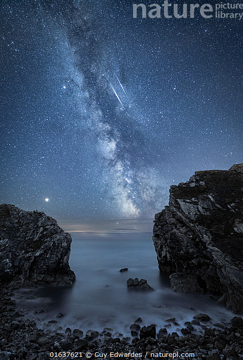 Milky Way over Stair Hole, Lulworth, Jurassic Coast World Heritage Site, Dorset, England, UK, August.  ,  Natural Science,Astronomy,Dark,Europe,Western Europe,UK,Great Britain,England,Dorset,Vertical,Cliff,Outer Space,The Universe,Galaxy,Galaxies,Planet,Planets,Mars,Stars,Sky,Ocean,Landscape,Night,Coast,Marine,Coastal,Water,Saltwater,Sea,Milky Way,  ,  Guy Edwardes