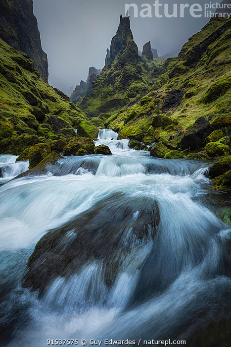 Long exposure of stream in Pakgill Canyon, Vik i Myrdal, Iceland  ,  Europe,Northern Europe,North Europe,Nordic Countries,Scandinavia,Iceland,Vertical,Photographic Effect,Long Exposure,Plant,Mosses,Moss,Mountain,Flowing Water,Waterfall,River,Stream,Streams,Mist,Landscape,Freshwater,Water,  ,  Guy Edwardes