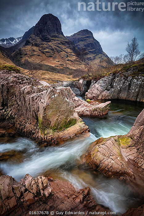 Long exposure of stream in Glencoe, Highland Region, Scotland, February.  ,  American,North America,USA,Midwest,Illinois,Glencoe,Europe,Western Europe,UK,Great Britain,Scotland,Highland,Vertical,Photographic Effect,Long Exposure,Mountain,Flowing Water,Waterfall,River,Landscape,Freshwater,Water,Highlands of Scotland,American,United States of America,  ,  Guy Edwardes
