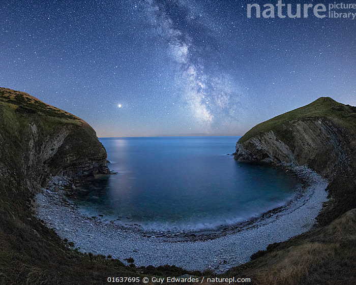 Milky Way and Mars over Pondfield Cove, Tyneham, Jurassic Coast World Heritage Site, Dorset, England, UK, August.  ,  Dark,Europe,Western Europe,UK,Great Britain,England,Dorset,Horizontal,Outer Space,The Universe,Galaxy,Galaxies,Planet,Planets,Mars,Stars,Sky,Bay,Cove,Ocean,Landscape,Night,Coast,Marine,Coastal,Water,Saltwater,Sea,Milky Way,Catalogue13,Catalogue13  ,  Guy Edwardes