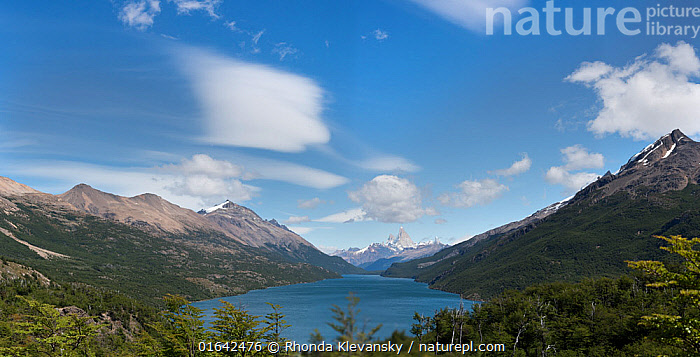 Lago Desierto, with Fitzroy massif in the background, Border of Chile and Argentina. January 2017.  ,  Latin America,South America,Argentina,Patagonia,Mountain,Sky,Cloud,Landscape,Freshwater,Lake,Water,  ,  Rhonda Klevansky