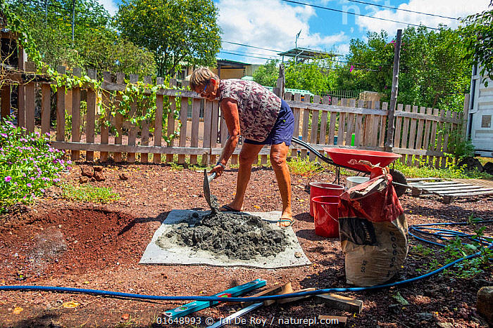 Photographer Tui De Roy building a new water lily pond with some leftover concrete during Covid-19 lockdown. Santa Cruz Island, Galapagos Islands April 2020  ,  Building,Build,Digging,People,Woman,Latin America,South America,Galapagos Islands,Galapagos,Garden,Building,Outdoors,Water,Biodiversity hotspot,Galapagos National Park,UNESCO World Heritage Site,  ,  Tui De Roy