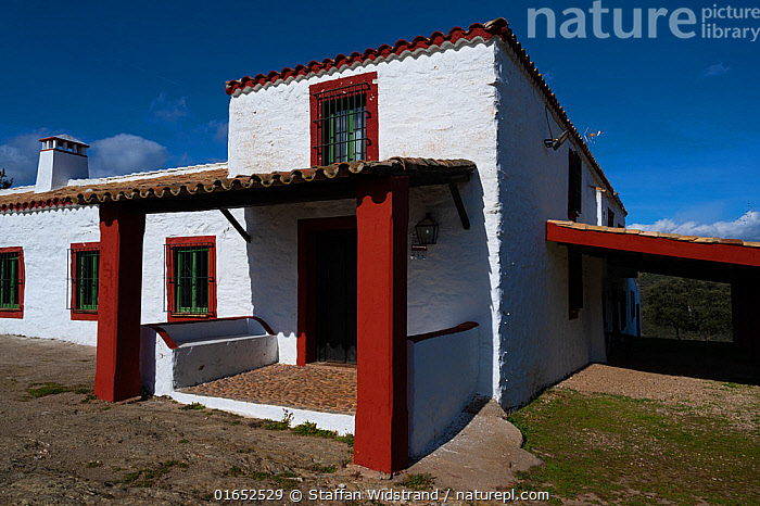 Ancient farmhouse, now used for tourism and hunting, Parque Natural Sierra de Andujar, Andalucia, Spain. January 2020.  ,  Traditional,Old,Europe,Southern Europe,Spain,Andalusia,Building,Residential Structure,House,Houses,Farmhouse,Farmhouses,Landscape,Hunting,Travel,Tourism,Reserve,Protected area,National Park,  ,  Staffan Widstrand