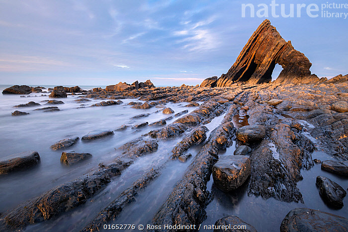 Blackchurch Rock at Mouth Mill, near Browhsham / Clovelly, last light, North Devon, UK. April 2019.  ,  Europe,Western Europe,UK,Great Britain,England,Devon,Pebble Beach,Pebble Beaches,Rocky Beach,Rocky Beaches,Shingle Beaches,Stony Beach,Stony Beaches,Rock,Landscape,Coast,Coastal,Dusk,North Devon,  ,  Ross Hoddinott