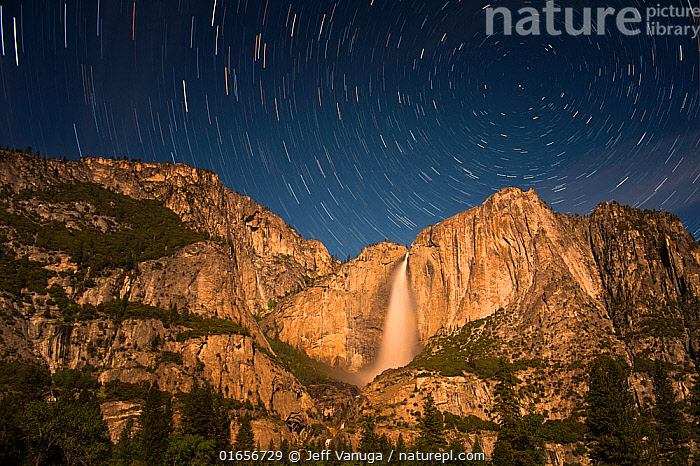 Stars over Yosemite Falls, Yosemite National Park, California, USA. May 2014.  ,  American,North America,USA,Western USA,Southwest USA,California,Cliff,Mountain,Stars,Landscape,Night,Reserve,Geology,Protected area,National Park,Yosemite National Park,American,United States of America,  ,  Jeff Vanuga