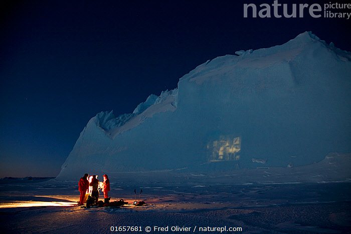Film projection onto an iceberg, in the Antarctic mid winter. Antarctica June 2012  ,  People,Entertainment,Movie,Feature,Features,Films,Movies,Antarctica,Antarctic,Polar,Ice,Iceberg,Icebergs,Interesting,  ,  Fred Olivier